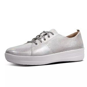 FitFlop F-Sporty Silver Leather Fashion Sneakers
